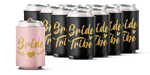Bachelorette Party 11pc Drink Coozies - BRIDE TRIBE & BRIDE - 10 Black & 1 Pink Blushing Bride Color by Almost Bride