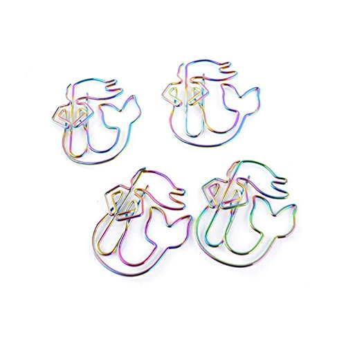Metal Mermaid Paperclips/Bookmarks, Chris.W 8pcs Page Marker Clips for Planner Art Projects Journal - Mermaid Shaped (Metallic Rainbow Color)