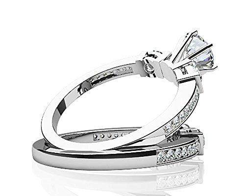 Or blanc 14K Triple canal de diamant de mariage Ensemble