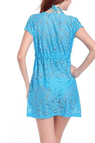 Vestido de Encaje Casual profundo escote en v Mini playa de las mujeres Blue