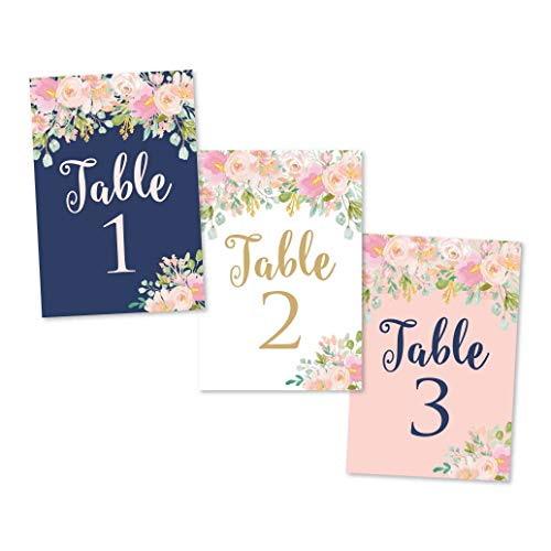 (1-25 Navy Blush Floral Table Number Double Sided Signs For Wedding Reception, Restaurant, Birthday Event, Calligraphy Printed Numbered Card Centerpiece Decoration Setting Reusable Frame Stand 4x6 Size)