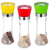 Salt and Pepper Grinder Shaker Set with 5 Grade Adjustable Ceramic Rotor Set of 3 Salt Grinders and Pepper Mill Shaker Mills Set for Cooking and BBQ Spices 6 Oz