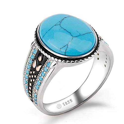 925 Sterling Silver Ring | Oval Sky Blue Stone Life Track Significance Ring for Men | Wedding Fine Jewelry