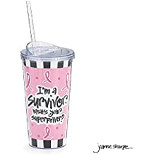 Pink Ribbon Breast Cancer I'm a Survivor, What's Your Superpower Travel Cup 20 oz