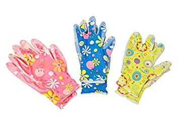 Ladies Colourful Pattern Grip Garden Gloves ~ 1 x Gardening Glove Pair 3 Designs (Pink) Mezzaluna Gifts