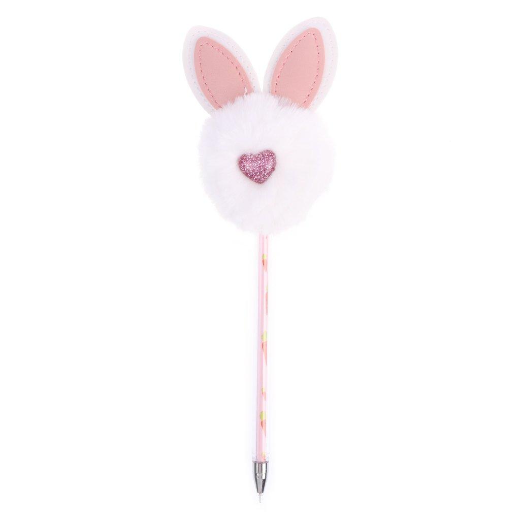 Lunji penne a inchiostro gel nero –  cute pom pom Ball con orecchie di coniglio penna gel per ufficio, 0.5 mm Misura unica Nero 0.5mm Misura unica Nero