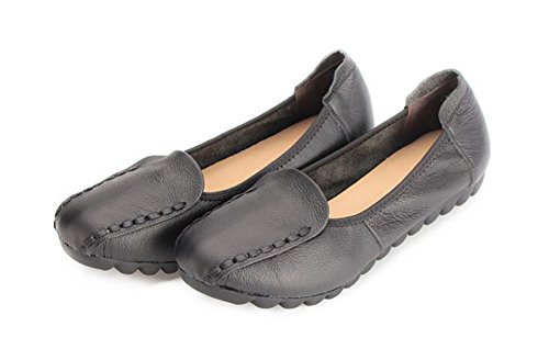 CHFSO Womens Stylish Comfy Solid Round Toe Slip On Low Top Low Heel Flats Shoes Black BwbXHlRf