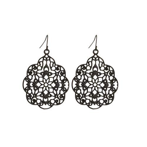Yunzee Hollow Earrings Bohemian Filigree Lace Pattern Dangle Ear Pendant Elegant Carved Drop Earring Jewelry,Black