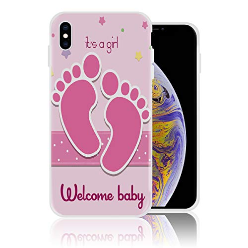 Silicone Case for iPhone Xs Max Personalized Design Printed Phone Case Shockproof Full Body Protection Anti-Scratch Drop Protection Cover - Welcome Baby It's a Girl Footprint]()