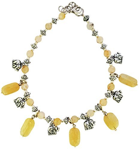 Mehrunnisa Silver Plated Elephant Charms And Semi-Precious Yellow Topaz Charms Anklet For Girls (JWL668) by Mehrunnisa