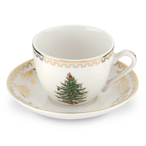 Spode Christmas Tree Cup and Saucer, Gold