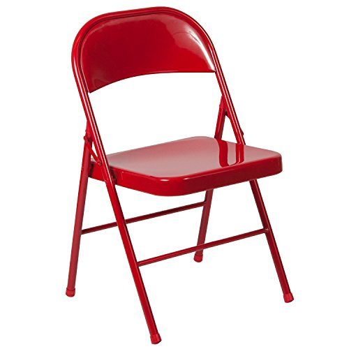 Chair Folding Metal (Flash Furniture HERCULES Series Double Braced Red Metal Folding Chair)