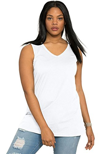Ultimate Tee Women's Plus Size Ultimate V-Neck Tank White,1X