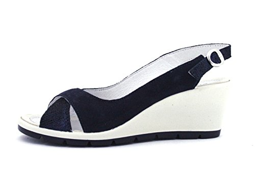 Made Navy Soft Enval In Italy Flessibile Sandalo Zeppa Pelle 12832 Scarpa Donna qzdEd