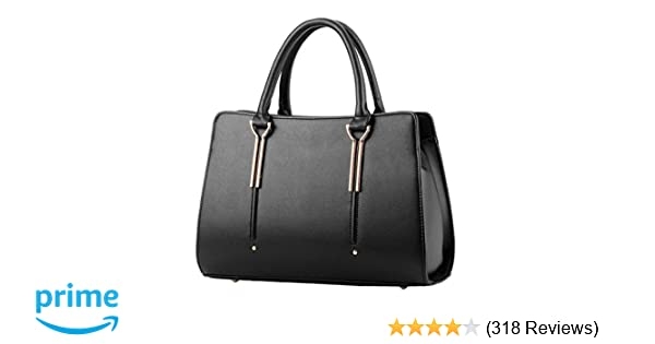 42b451af1086 Womens Pure Color Pu Leather Boutique Tote Bags Top Handle Handbag  Handbags   Amazon.com