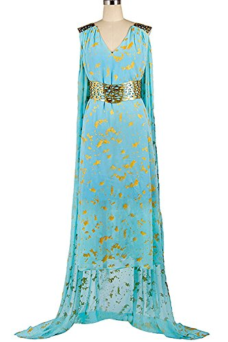 Game Of Thrones Costumes Designer (mingL Cosplay Women's Daenerys Targaryen Dany Dress Dragon Queen Cosplay Costume Chiffon Ball Gowns Cape Cloak Green (XXX-Large, Green))