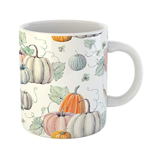 Emvency Coffee Tea Mug Gift 11 Ounces Funny Ceramic Pattern Watercolor Pumpkins It Is Thanksgiving Halloween Recipe Fall Gifts For Family Friends Coworkers Boss Mug]()