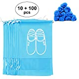Travel Shoe Bags, I-Chocie Portable Hanging Shoe Drawstring Storage Bag with 100pcs Disposable Boot Shoe Covers, Breathable Non-woven Fabric & Clear PVC Window, Pack of 10 (12.5'' x 17'', L, Blue)