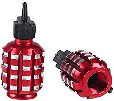 ユニバーサル タイヤ バルブキャップ アルミエアバルブキャップ手榴弾形状 オートバイ (レッド)