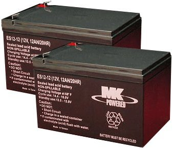 12 Volt 12 Amp SLA Battery - MK Battery 12V 12A Rechargeable Sealed Lead Acid Batteries - For Peg Perego, Ride On Cars, Currie, Ezip, Izip, Razor, and many 24 Volt Electric Scooters .