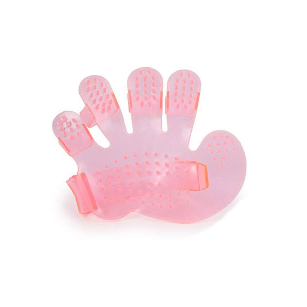 Nicedeal Fellpflege-Handschuhe, für Haustiere, für Hunde und Katzen, sanfte Massage-Bürste, Handform, weich, bequem, Rosa für Haustiere für Hunde und Katzen sanfte Massage-Bürste