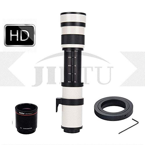 JINTU 420-1600mm f/8.3 Manual Telephoto Lens + 2X Teleconverter for Nikon D7000, D500, D600, D7200, D7500, D750, D800, D810, D850, D3100, D3200, D3300, D3400, D5100, D5200, D5300, D5500, D5600, D5400 (Best Telephoto Lens For Nikon D7200)