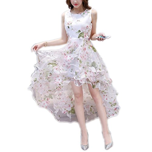 YRUS Summer Maxi Dress Women O-Neck Sleeveless Sweet Ball Gown White Organza High Low Evening Party Long Dress Pink Floral - Vinyl Ball Gown