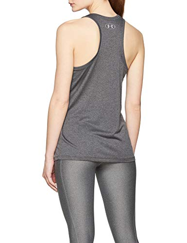 Donna Silver Metallic Under Canottiera Tank Tech Armour Grigio carbon Heather Solid fFXqZAOxw