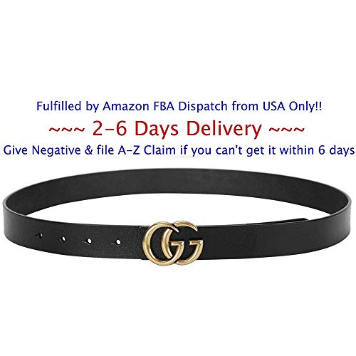 Bellover gg Belt For Women Belts Fashion G-Style Gold Buckle Unisex Cowhide Leather Belt Replica Fake Leather Womens (Black(width 2.8cm,110cm Waist 29