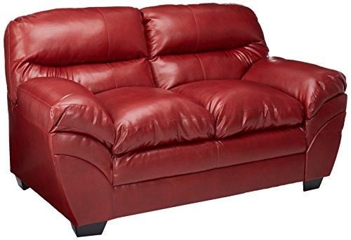 Ashley Furniture Signature Design - Tassler DuraBlend Loveseat - 2-Seat Faux Leather Upholstered Sofa - Crimson