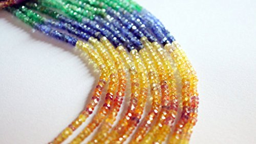Multi Sapphire color stone Beads Rondelle Shape, 2.5 - 3 mm 100 % Natural 1 Strand.