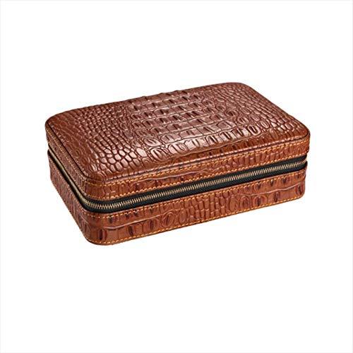 HYZXJHE Cigar Box Portable Cedar Box Leather Cedar Wood with Hygrometer Can Accommodate 4 Cigars by HYZXJHE (Image #6)