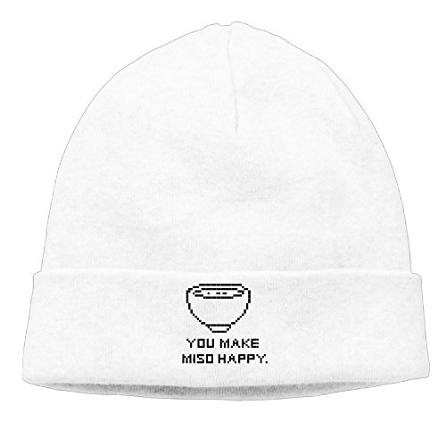 22' White Bowl (SGBGNB You Make Miso Happy Bowl Japan Cute Beanie Hat Designer Watch Cap Winter Black Warm)