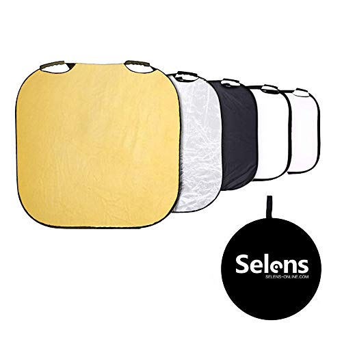 Selens 5-in-1 32 Inch Square Reflector with Handle for Photography Photo Studio Lighting & Outdoor Lighting