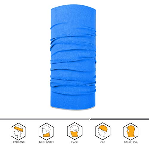 Microfiber Print Cap (12-in-1 Headband [Solids] - Versatile Sports & Casual Headwear - Wear as a Bandana, Neck Gaiter, Balaclava, Helmet Liner, Mask & More. Constructed with High Performance Moisture Wicking Microfiber., Cool Blue)