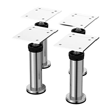 Adjustable Furniture Leg 4 Pack Stainless Steel   Amazon Com