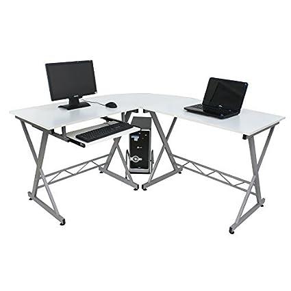 ZENY White L Shaped Desk 3 Piece Corner Computer Desk PC Laptop Table  Workstation