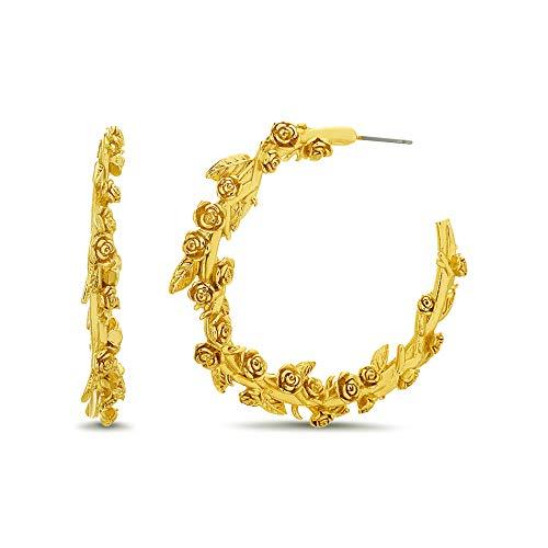 Steve Madden Yellow Gold-Tone Polished Rose Flower Vine Open Hoop Earrings For Women