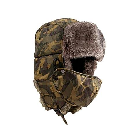 Sombrero grueso de invierno máscara unisex de camuflaje cálido a prueba de viento,Unisex,Outdoor Sportswear,Protección Solar,para caza, camping, senderismo, viajes,Guapo,Mantener,caliente (Amarillo) OVINEE