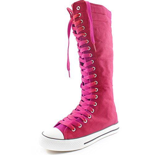 DailyShoes Womens Canvas Mid Calf Tall Boots Casual Sneaker Punk Flat, Fuchsia Boots, Cherry Lace
