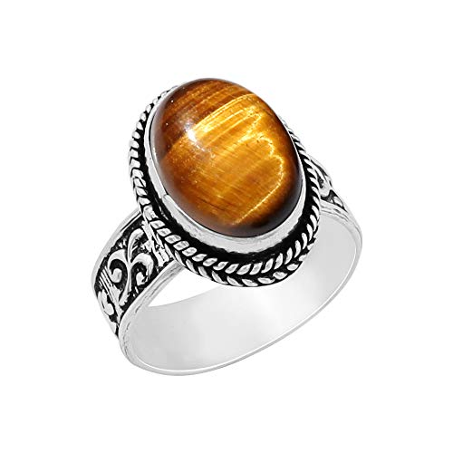 Genuine Oval Shape Tiger Eye Solitaire Ring 925 Silver Plated Vintage Style Handmade for Women Girls (Size-7)
