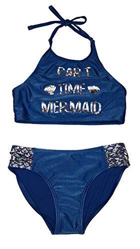 - Cat & Jack Part Time Mermaid Halter Bikini Set Girls Medium 7/8 Blue