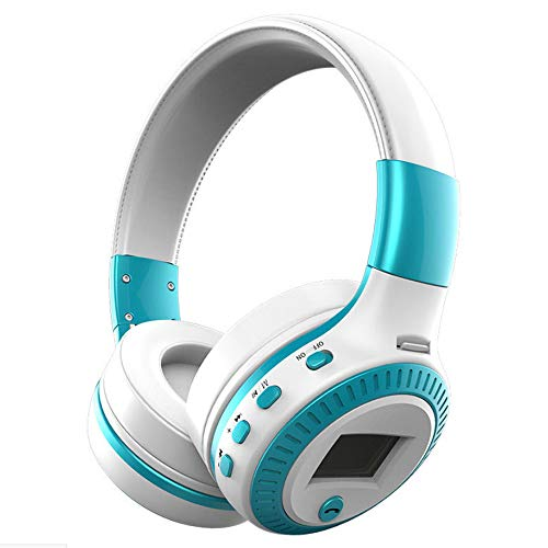 Price comparison product image Birdfly Wireless Bluetooth Headphones with Noise Cancelling Over-Ear Stereo Earphones TF (Blue)