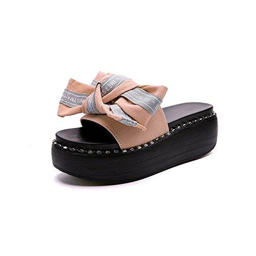 la Moda AJUNR pendiente con Transpirable que 39 pajarita y 36 zapatos Sandalias elegante 6cm gruesos zapatillas Bizcocho blanco Hfq4Bf