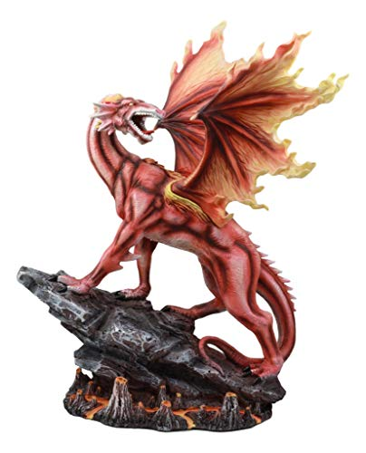 Ebros Large Red Magma Lava Smaug Dragon On Volcanic Rock Statue Home Decor Resin Fantasy Sculptural Figurine 16.5