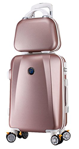 Womens ABS Spinner Wheels Anti-pressure Zipper Code Lock Luggage and Cosmetic Bag Set - 26 Inch Rose Gold by Songren