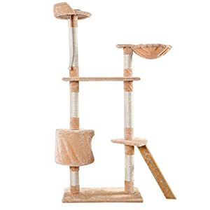 """Mefeir 60in Cat Tree Cat Condos Solid Cute Sisal Rope Plush Cat Climb Tree Cat Tower Beige Furniture in High - Multiple Color/Style 20""""~80"""" (24' x 16' x 60', Beige)"""