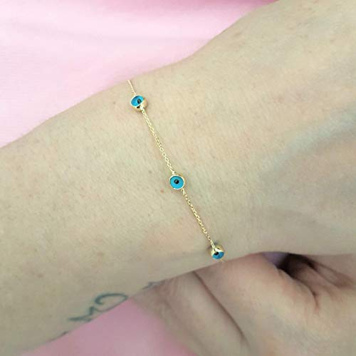 (14K Solid Gold Two Sided Evil Eye Design Tiny, Dainty,Delicate and Trendy Bracelet best gift for women,yourself, birthday)