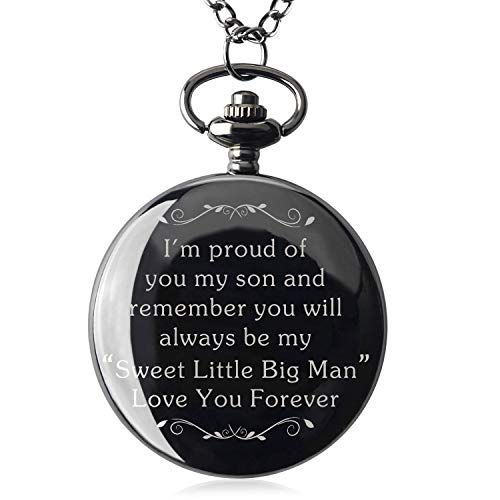 Qise Pocket Watch to My Son - Love Mom/Love Dad Necklace Chain from Mother to Son Gifts with Black Gift Box (Sweet Little Big Man)