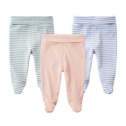 (SYCLZ Baby 3-Pack 100% Cotton High Waist Footed Pants Casual Leggings 0-12M (0-3M, A))